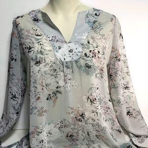RW&Co Sheer Floral Blouse - Medium